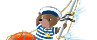 Bear on the yacht Stock Image