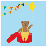 Bear with yellow balloon Royalty Free Stock Photos