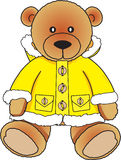 Bear in yellow fur coat. Cute toy bear sitting in yellow coat stock illustration