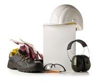 Bearbeiten Sie Sicherheits- und Schutzausrüstung - schützende Schuhe, Sicherheit lizenzfreie stockfotos