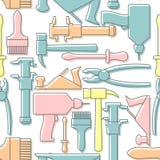 Bearbeitet nahtloses Muster Bohrgerät und Hammer, Schraubenzieher und ein Plan Stockfotografie
