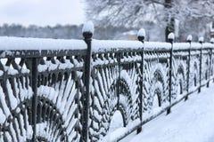 Bearbeitete Zauntore des Winters Stockfoto