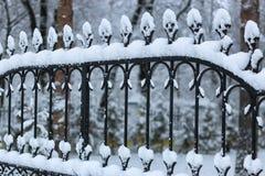 Bearbeitete Zauntore des Winters Lizenzfreie Stockfotografie