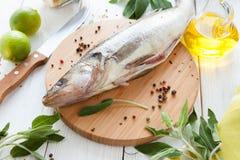 Bearbeta av att förbereda den rå fisken, walleye arkivfoto