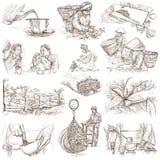Bearbeta för te Jordbruk En hand dragen illustration vektor illustrationer