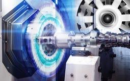 Bearbeta med maskin kontrollbordCNC med med för illustrationkugghjulet för numerisk kontroll det täckte hjulet, högteknologisk di Royaltyfri Bild
