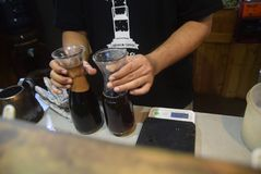 Bearbetad kaffebransch Arkivfoton