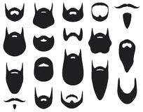 Beard. Set of beard silhouettes, beard collection Stock Photo