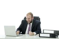 Beard business man is frustrated at desk royalty free stock photos