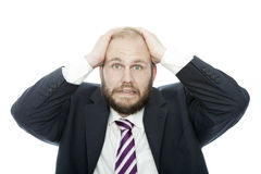 Beard business man look shocked Stock Image