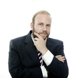 Beard business man thinking Stock Images