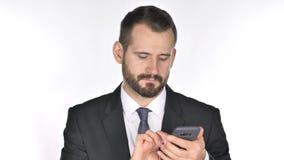 Beard Businessman Browsing Smartphone. 4k high quality stock video