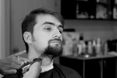 Beard cutting process Stock Photography