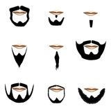 Beard and facial hair styles in vector silhouette Stock Photography