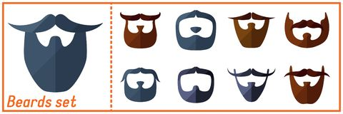 Beard flat icons set with hipster mustache. Beard flat icons set with hipster styled mustache vector illustration