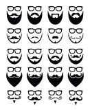 Beard and glasses, hipster icons set Royalty Free Stock Photo