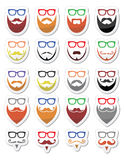 Beard and glasses, hipster icons set Royalty Free Stock Photos