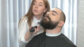 Beard grooming process. stock video