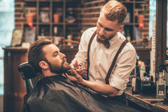 Beard grooming. Side view of young bearded men getting beard haircut by hairdresser while sitting in chair at barbershop Royalty Free Stock Images