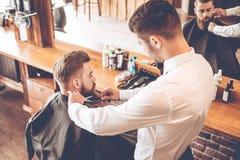 Beard grooming. stock photo