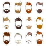 Beard And Hairstyles Face Set Royalty Free Stock Images