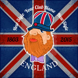 Beard head of englishman in hat with britidh flag background Stock Image