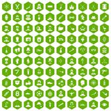 100 beard icons hexagon green. 100 beard icons set in green hexagon isolated vector illustration Stock Photography