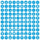 100 beard icons set blue. 100 beard icons set in blue hexagon isolated vector illustration Royalty Free Illustration