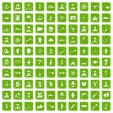 100 beard icons set grunge green. 100 beard icons set in grunge style green color isolated on white background vector illustration Royalty Free Stock Photography