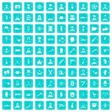 100 beard icons set grunge blue. 100 beard icons set in grunge style blue color isolated on white background vector illustration vector illustration