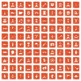 100 beard icons set grunge orange. 100 beard icons set in grunge style orange color isolated on white background vector illustration Stock Photo