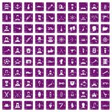 100 beard icons set grunge purple. 100 beard icons set in grunge style purple color isolated on white background vector illustration Stock Photo