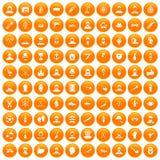 100 beard icons set orange. 100 beard icons set in orange circle isolated on white vector illustration stock illustration