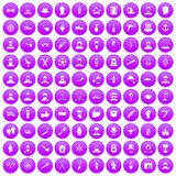 100 beard icons set purple. 100 beard icons set in purple circle isolated on white vector illustration royalty free illustration