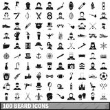 100 beard icons set, simple style. 100 beard icons set in simple style for any design vector illustration Stock Photography