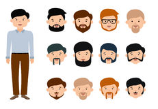 Beard man character creation set. Flat style illustration. vector illustration