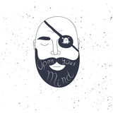 Beard man creative quote for your design.  Royalty Free Stock Photos