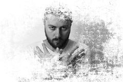 Beard man double exposure. Beard man looking funny with hands together royalty free stock photos