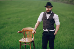 Beard man in field lonley Stock Images