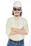 Beard man in hardhat Stock Image