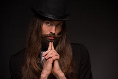 Beard man in hat Stock Photos