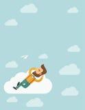 Beard man lying on a cloud Royalty Free Stock Photos