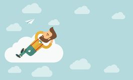 Beard man lying on a cloud Royalty Free Stock Image