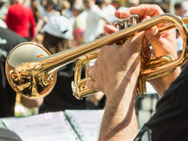 Beard Man Playng Brass Lacquered Trumpet Royalty Free Stock Image