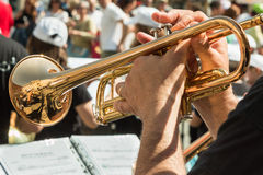 Beard Man Playng Brass Lacquered Trumpet Stock Image