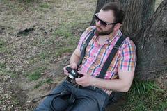Beard man relax tree Royalty Free Stock Images