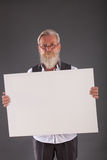 Beard man with a white board Stock Images