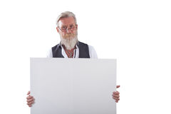 Beard man with a white board Stock Image