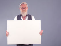 Beard man with white panel Royalty Free Stock Photo