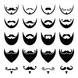 Beard with moustache or mustache  icons set Royalty Free Stock Image